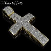 NEW! $279 Mens 14k Gold Gp Simulate WHITE Diamond HipHop Cross MICROPAVE Pendant