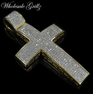 NEW! $279 Mens 14k Gold Gp Simulate WHITE Diamond HipHop Cross MICROPAVE Pendant
