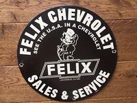 "Vintage Felix Chevrolet Sales and Service Heavy Porcelain Sign 12"" Gas & Oil"