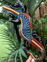Reptile Lizard wall hang wood craft hand painted dot carved animal gecko amazing