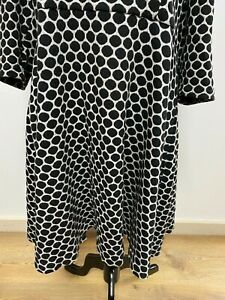 Boden White and Black Dress UK22/EU50 White with Black Spots 3/4 Sleeves Lined