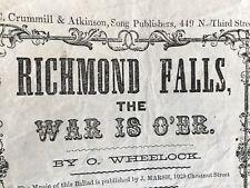 "Civil War "" Richmond Falls - War is Over ""  Civil War Broadside Confederate Loss"