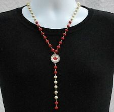CANADA FLAG PENDANT NECKLACE, Beaded Canadian Maple Leaf Charm Gift