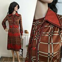 Vintage 70s Jersey Masters Zigzag Checked Collar Shift Dress 8 10 36 38