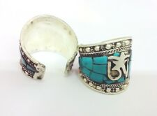 Classic Old Tibet Silver turquoise carved Ring one pieces adjustable size gift