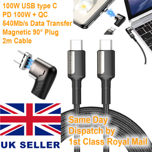 PD 100W QC 4 USB C Fast Charging Magnetic Cable 90 Angle Sync for MacBook Huawei