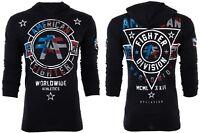AMERICAN FIGHTER Mens Hoodie Sweat Shirt SILVER LAKE PATRIOT Black USA FLAG $65