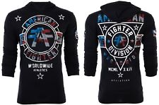 AMERICAN FIGHTER Mens Hoodie Sweat Shirt SILVER LAKE PATRIOT Black USA FLAG $65