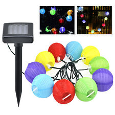 Set of10 Solar Lanterns LED Lights 4M 7.5CM Outdoor & Indoor Garden BBQ Party BT