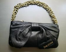 Juicy Couture Black Leather Top Zip Bow Bag w/Gold Oversized Chain