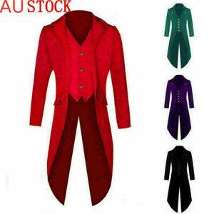 AU Mens Steampunk Vintage Tailcoat Jacket Gothic Victorian Ringmaster Coat