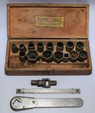 Vtg. Hinsdale Mfg. Co. Ratchet Wrench w Sockets, Elbow, Extension Rod & Wood Box