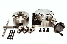 """ROTARY TABLE 4"""" with 100MM SELF CENTERING 3 JAW CHUCK with BACKPLATE"""