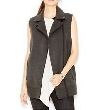 Rachel Roy Moto Vest Sz M Dark Heather Grey Felt Zip-Up Long Career Casual