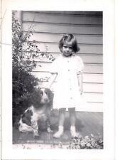 Little Girl & Springer Spaniel? Dog Companion Vintage 1930s Photo