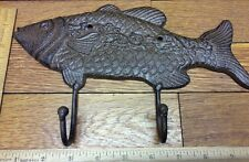 Large 10-3/4 FISH COAT HOOK Cast Iron Rustic Antique Vintage Style Wall Hat Rack