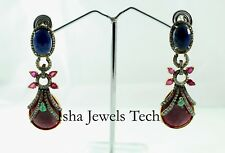Natural Diamond & Ruby, Emerald, Sapphire Gold & 925 Sterling Silver Earrings