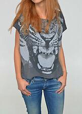 Animal Print Cotton Blend Crew Neck Tops & Shirts for Women