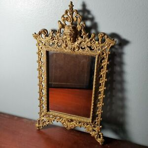 Antique/Vintage Small Gold Gilt Cast Iron Picture Frame w/ Mirror & Cherub