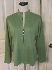 THE TOG SHOP Pretty Vivid Green Zip Front Mandarin Collar Jacket  Sz M EUC!