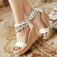 women's ankle strap open toe  wedge sandals high heel boho summer party shoes SZ