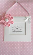 PINK flower hanging mini photo frame your own personal message plaque  keepsake
