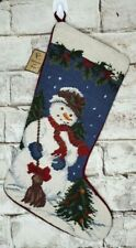 Christmas Stocking Needlepoint Snowman Handcrafted Collectible Union Trading New