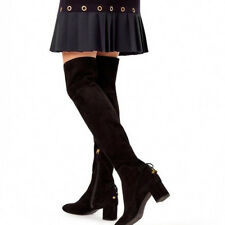 Tory Burch Laila Over the Knee Boots Stretch Suede Black Size 8 $598