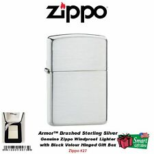 Zippo Armor Brushed Finish Sterling Silver Pocket Lighter, in Gift Box  #27
