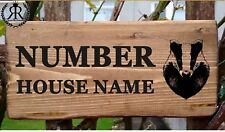 Rustic Badger House Gate Sign Plaque Door Number Personalised Name Plate Wooden
