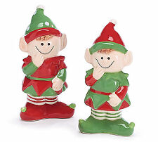 Pixie Elf Salt and Pepper Shakers Ceramic Christmas Holiday Decor Burton+Burton