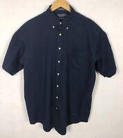 Daniel Cremieux Mens Button Down Front Short Sleeve Shirt Dark Blue Sz Large