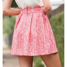 BLUE RAIN Junior's Nude Beige Pink Lace Pleated Skirt Scalloped Hem sz Large EUC