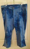 Lane Bryant pants tie dye Capri cropped plus size 18 blue casual faux Pockets