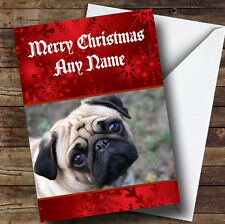 Cute Pug Personalised Christmas Greetings Card