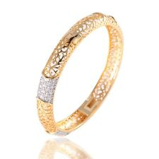 Bridal jewelry! 18K gold filled white round Topaz after party cuff bangle 6.88''