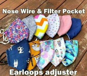 Washable Cotton Face Mask with nose wire and filter pocket Reusable Mask Adult