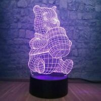 Winnie the Pooh Illusion LED Lamp, 3D Light Experience - 7 Colors Options