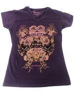 Hard Rock Cafe Las Vegas Revolution Purple & Gold Roses Womens Small T-Shirt