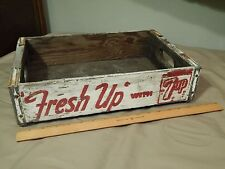 """Fresh Up"" with 7up [White/Red] Wood - Metal Edged (SODA POP CRATE) Sturdy Vtg"