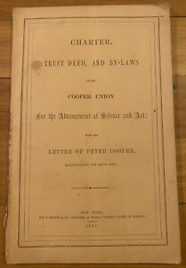 Rare 1859 Booklet Peter Cooper Union Charter & By-Laws Manhattan NYC History !!!