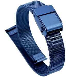 10mm Stainless Steel  Mesh Milanese Watch Band Bracelet Color Dark Blue  PVD