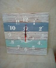 Shabby Wooden Seaside Nautical Wooden Clock