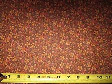 Thanksgiving Halloween Autumn Calico Brown Leaves Berries -Sold by the half-yard