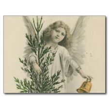 "*Postcard-""Christmas -""The Angel w/Bell"".Holding Small Christmas Tree- (N4)"