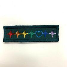 Heartbeat Rainbow Patch. Police/ Ambulance Hook Velcro or Iron-on Backed