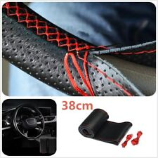 38cm Universal Car DIY Leather Steering Wheel Cover Protect Needles Black Thread