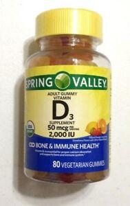 New Spring Valley Vitamin D3 Gummy 50 mcg 2000 IU 80 Vegetarian Gummies