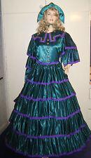 Damas De Lujo Verde Victoriano Dickens Scarlett O 'Hara Disfraz 10-12 *