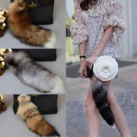 Large Long Fox Fur Tail Keychain Key Ring Chain Bag Handbag Charm Decoration 12U